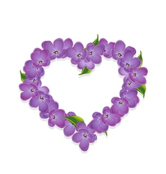 Floral heart with lilac flowers vector image vector image