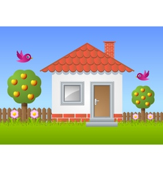 Fruit garden with house vector image vector image
