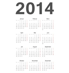 German 2014 year calendar vector image