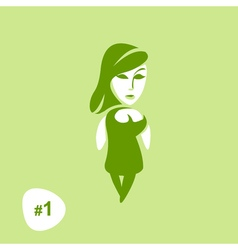 Green Background with beautiful girl silhouette vector image