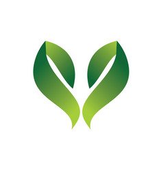 green leaf hearth 3d logo vector image