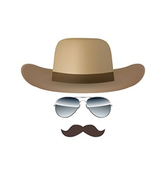 Hat Glasses and Mustache isolated on white vector image vector image