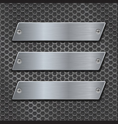 metal plates on iron perforated background vector image vector image