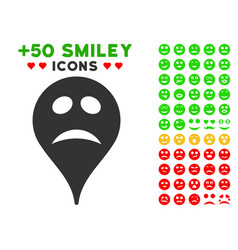 pity smiley map marker icon with bonus emotion set vector image