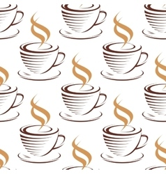 Steaming coffee cups seamless pattern vector