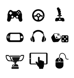 black game icons set white background vector image vector image