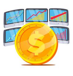 dollar with graph diagram trading monitors vector image
