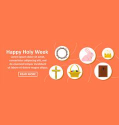 happy holy week banner horizontal concept vector image