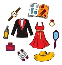 Male and female fashion icons vector image