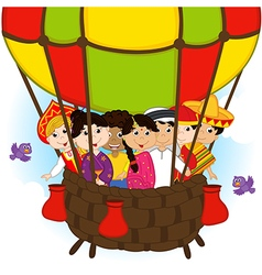 multicultural people on one balloon vector image