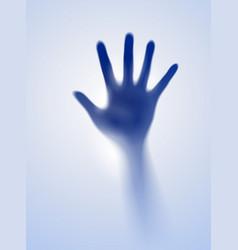 Open hand in the blue mist of designer vector