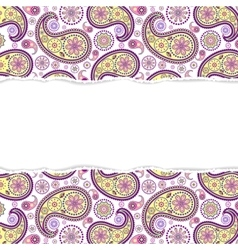 Seamless paisley pattern with torn paper vector