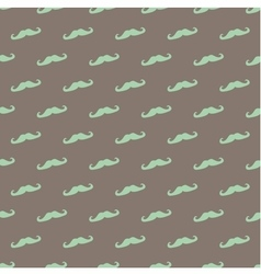 Tile pattern green mustache on brown background vector image