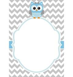 Baby boy owl card vector