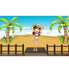 Cartoon Beach Girl vector image vector image