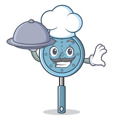 chef with food skimmer utensil character cartoon vector image vector image