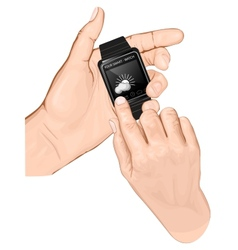 Hand hold smart-watch Gesture Tap vector image