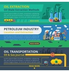 Oil industry banner set vector