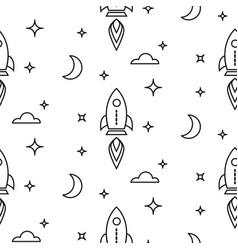 space rocket scandinavian line style seamless vector image vector image