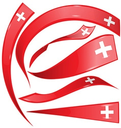 swiss flag set on white background vector image
