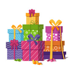 wrapped gift boxes pile isolated on white vector image