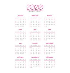 2020 calendar template vector