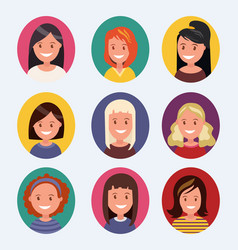a set of female avatars with different hairstyles vector image