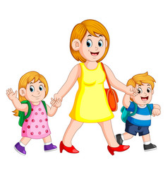 A woman holding her children hands for accompany vector