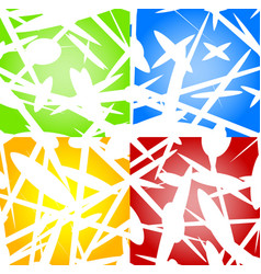 abstract background set in four colors green blue vector image