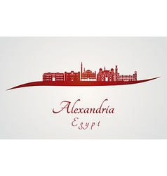Alexandria skyline in red vector image