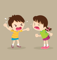 Angry student boy and girl are quarreling vector