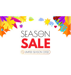 autumn sale seasonal offer poster template with vector image
