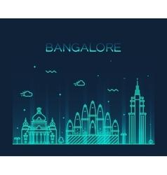 Bangalore skyline linear vector image