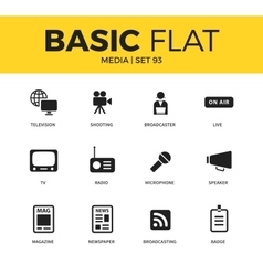 Basic set of media icons vector image