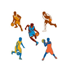 Basketball Player Dribbling Ball Collection vector