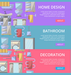 Bathroom decoration poster set in flat style vector