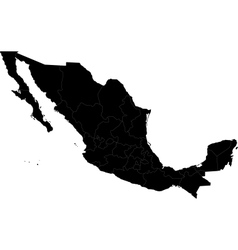 Black Mexico map vector image