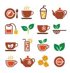 Black tea and ice tea icons set vector