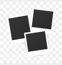 Blank set photo polaroid frame on transparent vector image