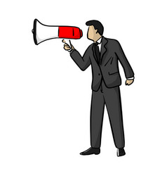 Businessman shouting over megaphone vector