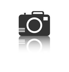 camera icon with reflection effect on white vector image