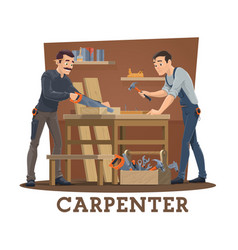 carpenters at workshop with carpentry tools vector image