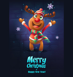cartoon deer merry vector image
