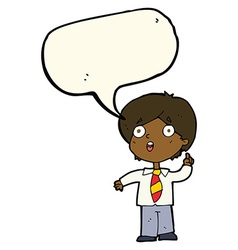 Cartoon schoolboy answering question with speech vector