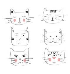 cat set hand drawn cute vector image