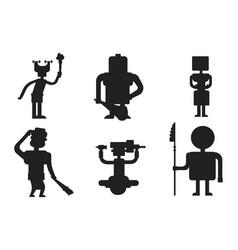 caveman primitive stone black silhouette age vector image