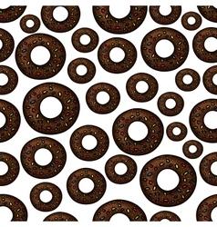 Chocolate doughnuts retro cartoon seamless pattern vector