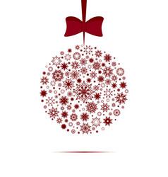 christmas ball made with snowflakes vector image