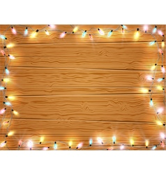 Christmas light frame christmas banner on wooden vector