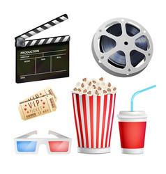 Cinema movie icons set realistic items film vector